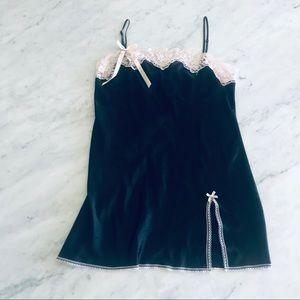 Victoria's Secret teddy slip dress satin black L